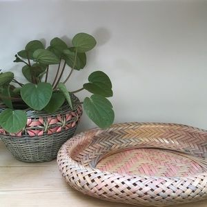 Pink and blue wicker planter and basket